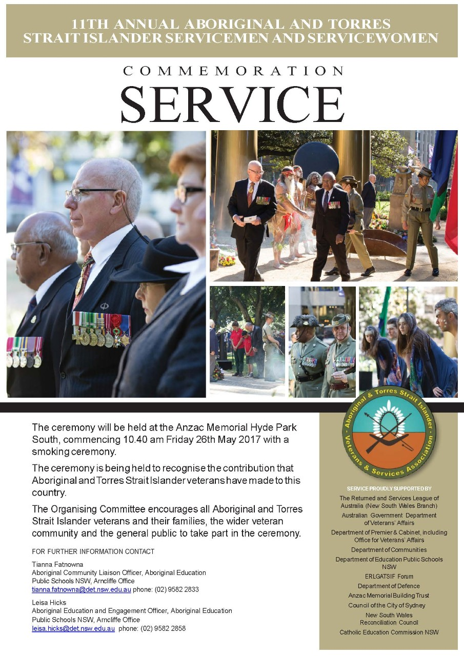 The Indigenious commemoration service flyer.